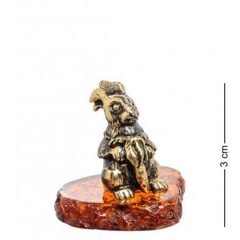 Am-1535 фигурка зайчик с морковкой (латунь, янтарь)