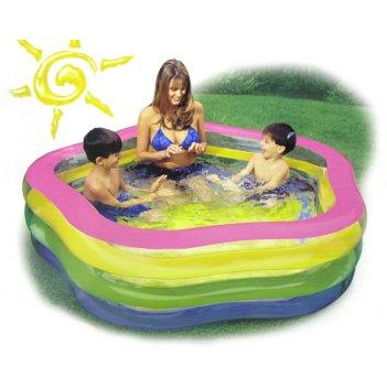 С56495, надувной бассейн звезда радуга с надувным полом, intex