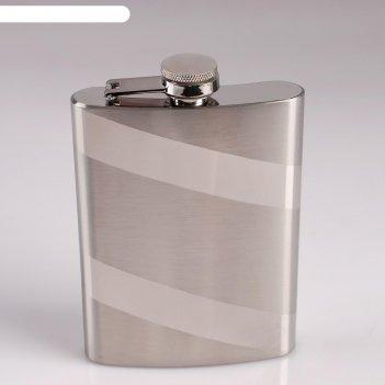 Фляжка металл 8oz диагональные полосы 14х2,5х9,5 см