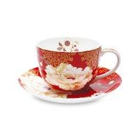 Чашка чайная с блюдцем «кимоно», объем: 250 мл, материал: фарфор, цвет: бе