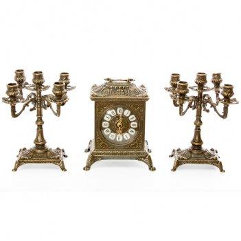 Часы каминные ларец и 2 канделябра на 5 свечей, 3 предм.