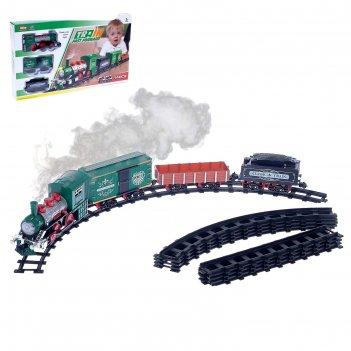 Железная дорога классик (поезд, три вагона), световые и звуковые эффекты,