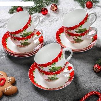 Сервиз чайный «новогодее волшебство», 12 предметов: 6 чашек 280 мл, 6 блюд