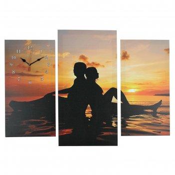 Часы настенные модульные «влюблённая пара на мелководье», 60 x 80 см