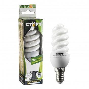 Лампа энергосберегающая старт 9wfsp, 9 вт, е14, 2700 к, 230 в
