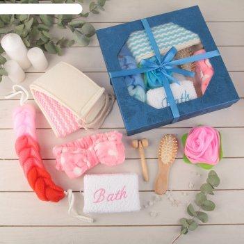 Набор банный, 7 предметов: 4 мочалки, повязка на голову, расчёска, массажё