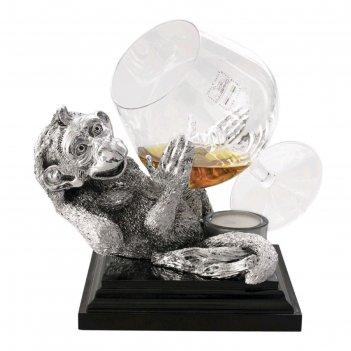 Коньячница «обезьяна» с серебряным декором, 800 мл