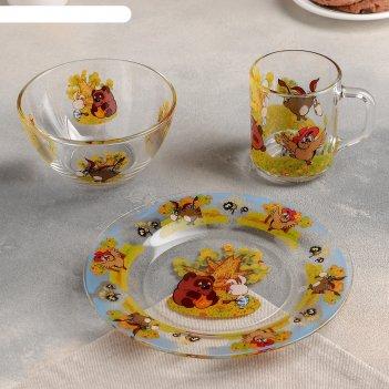 Набор посуды винни пух, 3 предмета: кружка 200 мл, салатник 300 мл, тарелк