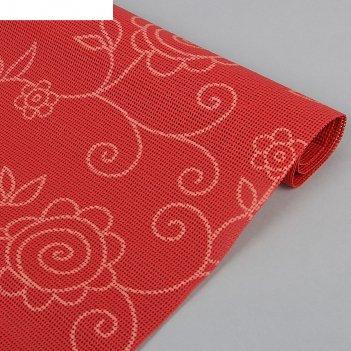 Коврик противоскользящий 45х100 см вьющиеся цветы, цвет красный