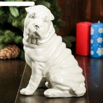 Фигура садовая собака шарпей, большой, глянец, белый