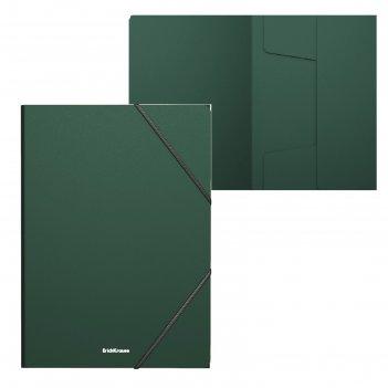 Папка на резинках а4 зеленая, пластиковая erichkrause, matt classic 47191