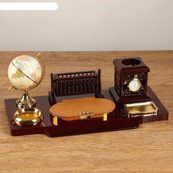 Набор настольный 6в1 (блок д/бумаг, подаст. д/печати, карандашница, часы,