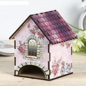 Чайный домик домик прованс лаванда микс  15х10х10 см