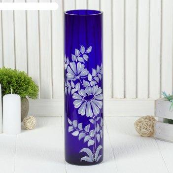 Ваза цилиндр, синяя, ручная роспись