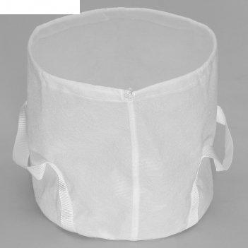Кашпо из текстиля 15л с ручками белый 26х28см