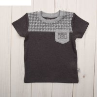 Фуфайка (футболка) для мальчика, рост 68 см (44), цвет тёмно-серый меланж