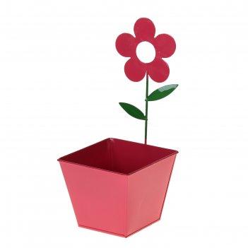 Кашпо оцинкованное настенное цветок 9,8*12*27,5 см, микс