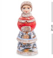 Фигурка снегурочка с муфтой (резная) 24см