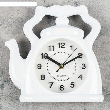 Часы настенные, серия: кухня, чайник, белый 24х24 см, плавный ход