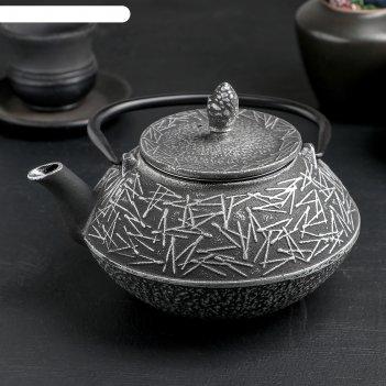 Чайник с ситом 800 мл хрома, эмалированное покрытие внутри