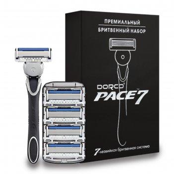 Бритвенный станок dorco расе7, 5 кассет в подарочной упаковке с серебряным