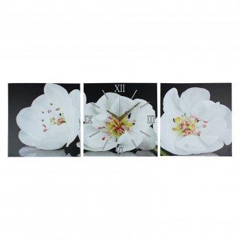 Часы настенные модульные «белые орхидеи», 35 x110 см