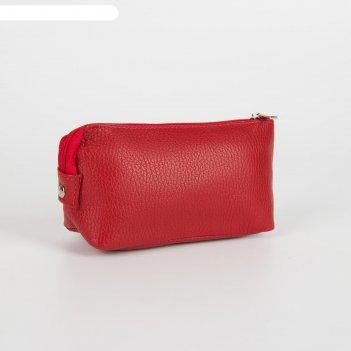 Косметичка простая, отдел на молнии, наружный карман, цвет красный