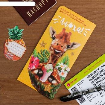Туристический конверт для документов и наклейка на чемодан алоха!