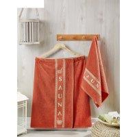 Набор для сауны мужской (килт, полотенце 50х90 см), цвет терракотовый