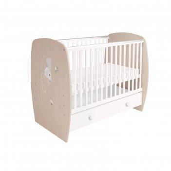 Кроватка детская polini kids french 710, amis, с ящиком, цвет белый-дуб па
