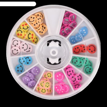 Фимо-дизайн для ногтей смайлики, цвет микс