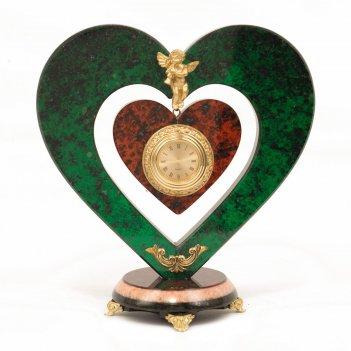 Часы сердце с ангелом змеевик мрамор