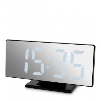 Ял-07-04/6 часы электронные зеркальные (черное дерево с белой подсветкой)