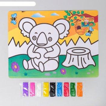 Фреска с цветным основанием коала 9 цветов песка по 2 г