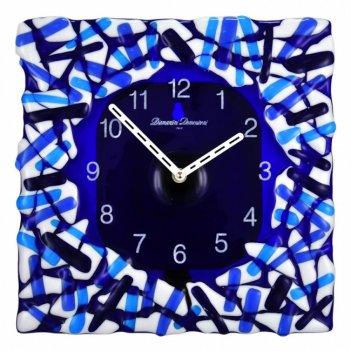 37 стекл. murano fuso син .часы настенные  30*30