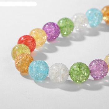 Бусины на нити шар №14 кварц сахарный, разноцветные, 38см