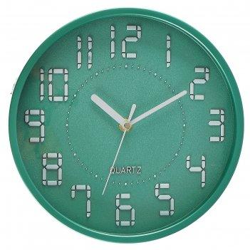 Часы настенные круг, арабские цифры, электронный шрифт, зеленые, d=22,5 см