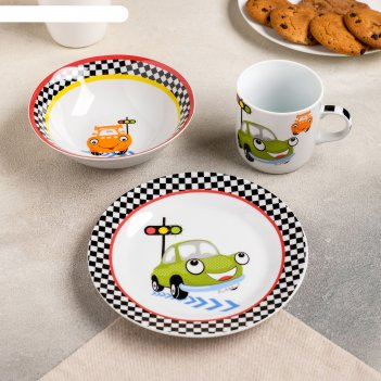 Набор детской посуды светофор, 3 предмета: кружка 230 мл, миска 400 мл, та