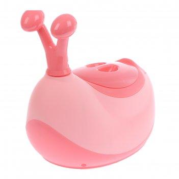 Горшок-игрушка «улитка» с крышкой, съёмная чаша + ёршик в комплекте, цвет