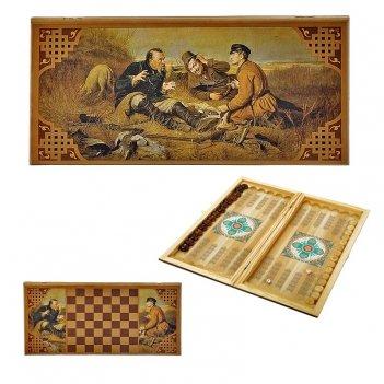 Нарды в деревянной коробке охотники на привале