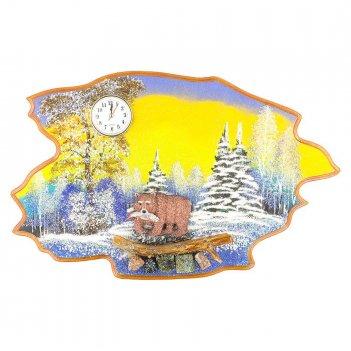 Часы с картиной медведь с рыбой зима 50х32 см