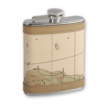 Фляга s.quire 0,27 л карта, сталь+искусственная кожа, бежевый цвет с рис