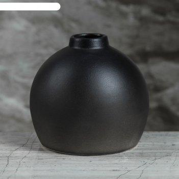 Ваза настольная сиде, матовая, чёрная, 12 см, керамика