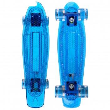 Скейтборд yb-502s светящ, разм 56,5x15 см, колес светящ pu d= 60*45 мм, ал