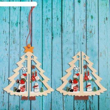 Подвеска новогодняя двойная снеговик на ёлке