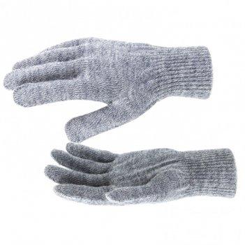 Перчатки трикотажные, акрил, серое мулине, двойная манжета россия сибртех