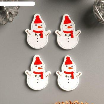 Набор пуговиц для творчества дерево снеговик в шапке и шарфике набор 15 шт