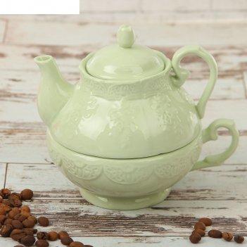Набор чайный кружевная лоза 380 мл, 2 предмета: чайник, чашка, цвет зелены