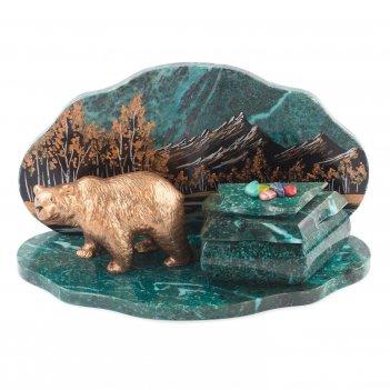 Шкатулка медведь 265х135х145 мм 2500 гр.