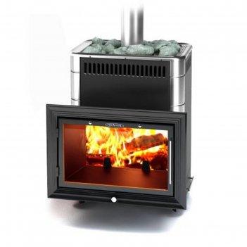 Печь для бани термофор витрувия carbon, антрацит, нержавеющие вставки